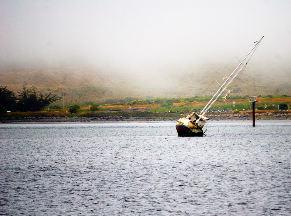 Tilting Boat ~ Bodega Bay, California